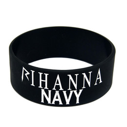 Wholesale Shipping 50PCS Lot Rihanna Navy Silicone Wristband 1'' Wide Band, Ink Filled Colour Promotion Gift