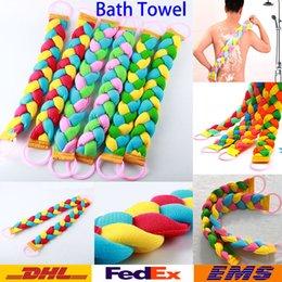 Wholesale Hot Style Bath Towel Women Men Twist Long Rainbow Color Massage Back Pull Back Rub Mud Scrubs Body Bath Towel WX T02