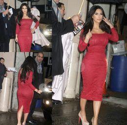Vestidos cortos kim kardashian en Línea-2016 Vestidos de fiesta formales de la celebridad de Kim Kardashian atan los vestidos de noche largos de la manga vestidos de testa