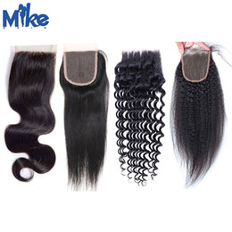 MikeHAIR Brazilian Human Hair Top Lace Closure Cheap Body Wave Straight Curly Hair Closure 8-20in Peruvian Indian Malaysian 4x4 Lace Closure