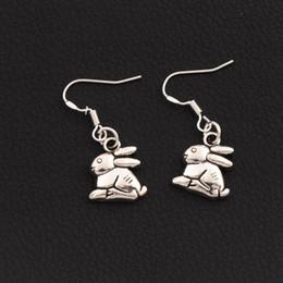 Rabbit Bunny Earrings 925 Silver Fish Ear Hook 50pairs lot Antique Silver Chandelier E498 13.3x31.5mm