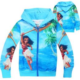 2017 Moana Autumn Girls Sweatshirt Children Hoodies For Girl New Cartoon Costume Kid Jacket For Girls Outwear Zipper Sweatshirt Hooded
