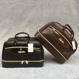 NOUVEAU HONMA Golf Boston Bag Hommes tissés PU Leather Clothing Duffel Bag pour Golf Shoes Sac noir et marron couleurs à partir de sacs polochons marron fournisseurs