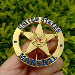 The metal badge badge US MARSHAL US Federal Court law enforcement badges Golden color surface badge