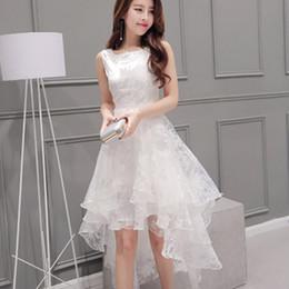 Compra On-line Korean women s dress-Mulheres Coreano Lady Girls Casual Moda Branco Lace Verão Sexy Sleevelless Puff Skirt Vestido Saias 2979