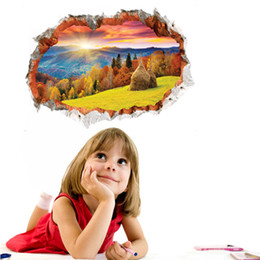 3D stereo landscape painting non-absorbent stickers moisture-proof 60cm*90cm Fiberglass Wallpapers for Kids' Room Wedding House