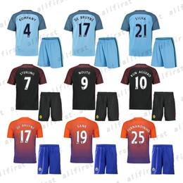 Wholesale 16 Mens Manchester City Soccer Jersey With Shorts KUN AGUERO SANE GUNDOGAN ATERLING NOLITO SILVA Soccer Uniforms Kit