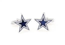 Cowboy cufflinks, blue five-pointed star cuff links. Men's fashion jewelry.