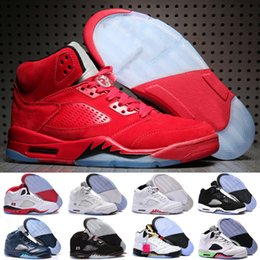 New retro 5 V Olympic OG metallic Gold Tongue Man Basketball Shoes Black Metallic red blue Suede Fire Red Sport Sneakers
