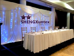 White Wedding Backdrop Curtain And Swags With LED Lights