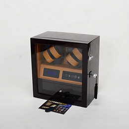 Wholesale Luxury wooden automatic watch winder LED light display watch box touch screen control easily stop by opening the door case
