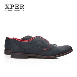 Wholesale Chunky Heel Party - Size 40~46 Brand XPER Casual Men Dress Shoes Lace-Up Comfortable Men Wedding Shoes #YM86518BL BU