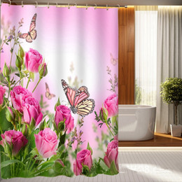 Wholesale Pink Roses Butterfly Shower Curtain Personalized Waterproof D Shower Curtain Polyester Digital Printing Bathroom Curtain cm cm