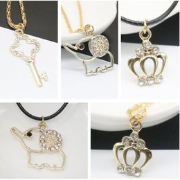Jmyy Jewelry Hot Fashion Necklace Cute Key Elephant Crown Necklaces & Pendants Leather Chain Alloy Chian For Women Short Necklace
