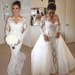 2017 Custom Made Overskirts Mermaid Wedding Dresses Beaded Lace Embroidery Sheer Long Sleeves Wedding Dress Arabic Dubai Bridal Gowns