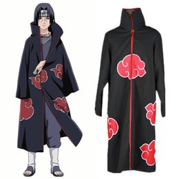 Uchiha Itachi cosplay costumes Akatsuki Cloak Japanese anime Naruto clothing Computer Embroidery Anime Costumes Red Cloud Cloak