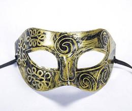Wholesale Antique Gold Antique Silver Bronze Mask Half Face Flat Carved Face Mask Ancient Roman Mask