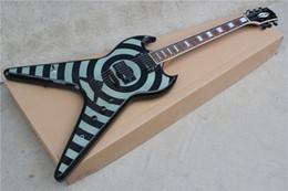 Acheter en ligne Voler v-Livraison gratuite Fabrication nouvelle Zakk Wylde blanc gris volant V guitare électrique 16 131