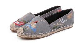 Broderie chaussures plates à vendre-Chaussures femme de haute qualité Retro chaussures décontractées nouvelles chaussures pêcheur en peau de mouton mat broderie paille Pinelli chaussures plates faites à la main