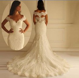 Gorgeous Off the Shoulder Plus Size Mermaid Wedding Dress Vestido De Novia Lace Appliques Illusion Back Bridal Gowns Court Train