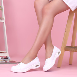 plardin Four Seasons Woman white Nurse shoes women Platform soft Comfortable Air cushion casual genuine leather Antiskid shoes