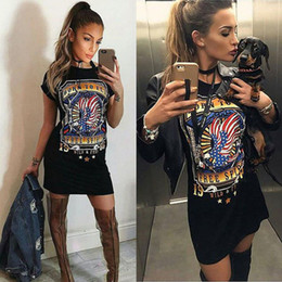 Promotion mini-roches Dongguan_wholesale women eagle print t-shirt s'habille 2017 summer rock chic tshirt sexy club à manches courtes mini robe casual WM013