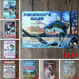 Hunting Fishing Vintage 20*30cm Tin Poster Animal Big Fish Iron Painting Man Gave By Invitation Only Metal Tin Sign Popular