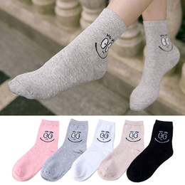 Wholesale New Fashion Cartoon Happy Face Tubesock Sweet Cotton Skateboard Funny Socks For Woman Girl and Ladies