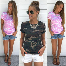 Wholesale New Fashion Summer Women Plus Size O-neck Cotton Loose Camouflage Short Sleeve T-shirt Pink Army Green Woman Casual Printed Blouse