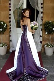 2017 White and purple Embroidery cathedral train Wedding Dresses Country Rustic Bridal Fancy Gowns Gothic Unique Strapless Plus Size Winter