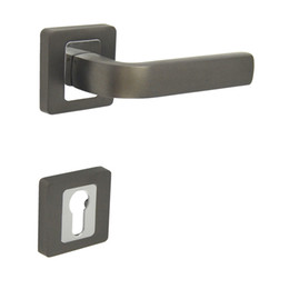 RY0785TBCP Door Handle with Cylinder Hole Escutchoen Black Nickel and Chrome