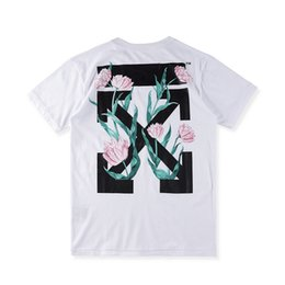 EU Size 2017ss New High Quality Rose OFF White T-Shirts 1:1 Men Women 100% Cotton Short Sleeves Casual Tee O-neck OFF-White T-shirt