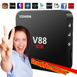 Wholesale V88 TV BOX Quad Core RK3229 Android Lollipop Internet TV Box Kodi Rooted GB RAM GB ROM WiFi UHD K D Google Streaming Media Player