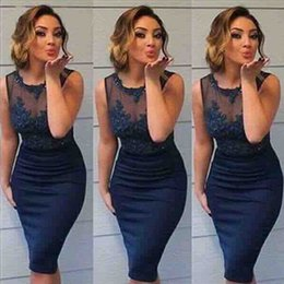 Navy Blue Sheath Short Prom Dresses 2017 Sheer Neck Lace Appliques Sleeveless Evening Gowns Knee Length Cocktail Party Dress Cheap