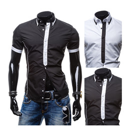 Wholesale-Mens Dress Shirts Fashion Cotton Turn-down Collar Patchwork Men Shirt New Summer Short Sleeve Chemise Manche Courte Homme
