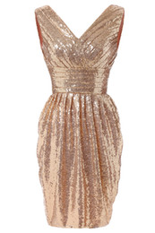 Gold Sequins Short Bridesmaid Dresses 2015 V Neck Ruffle Knee Length Bling Formal Occasion Dress Cheap Bridesmaids Wedding Party Gown