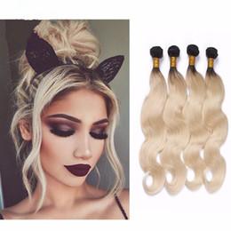 New Arrival #1B 613 Human Hair Weaves 4pcs 9A Brazilian Virgin Hair Body Wave Dark Root Ombre 613 Blonde Hair Extensions