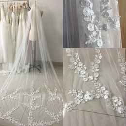 Real picture 3 Meters One Layer Lace Long Elegant Wedding Bridal Veils With Comb Veu de Noiva Applique Edge Wedding Veils CPA886