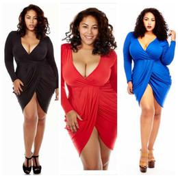 2017 bleu peplum robe noire Grande Taille Femmes Europe Nouveau Forfait Été Hip Deep VSexy Long Manches Robe Blanc Noir Rouge Bleu abordable bleu peplum robe noire