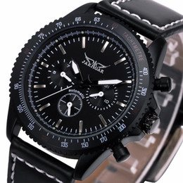 Promotion mens multi fonction Wholesale- Limited Sports Men's Multi-fonction Automatic Mechanical Watch 3 Subdials Leather Strap montres pour hommes top brand luxury + Gift Box
