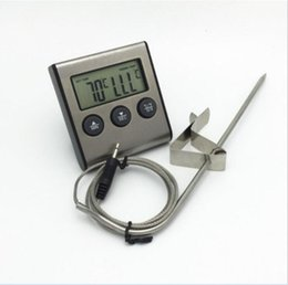 Wholesale Multi function Digital LCD Display Timer Cooking Kitchen BBQ Probe Meat Food Thermometer Dropshipping TK0217