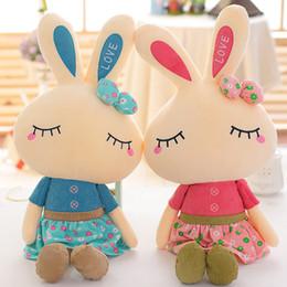 Pequeñas faldas de los niños en Línea-46cm Metoo Lovely Rabbit Poco conejito Plush Juguetes Pequeños animales de peluche Baby Girl Kids regalo de los amantes de la creatividad falda Doll Puppet