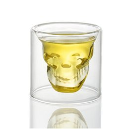 2016 New Creative 75ml Skull Design Crystal Transparent Glass Cup For Vodka Whiskey Shot Bar Home Drinking Ware