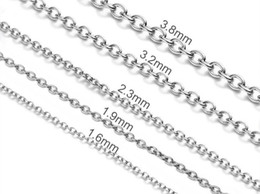 """Width 1.5mm 2mm 2.5mm 3mm 4mm 5mm Stainless Steel Rolo Round O Shapped Link Cross Cable Chain Necklace (18""""-22"""" inches)"""