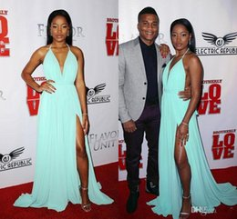 Wholesale Keke Palmer High Slit Evening Dresses Backless Michael Costello Red Carpet Dress Pleated Long Chiffon Celebrity Gowns Special Occasion Wear