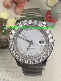 Cerámica blanca reloj de pulsera en venta-Reloj de lujo de la nueva moda Reloj de hombre asombroso de la Día-Fecha 2 II 18k los 41MM del oro blanco más grande del diamante Reloj mecánico de los hombres del bisel de cerámica