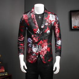 Vente en gros- New Designs Hommes Floral Blazer Jacket Hommes Dress Slim Fit Homme Suit Costumes de scène pour les chanteurs Mâle Manteau Rouge Casual Mens Blazer à partir de costumes conception hommes fabricateur