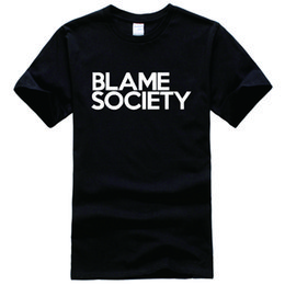Wholesale Blame Society Jay Z Rap Famous Celebrity Swag Vip Printed Tee Shirt Unisex Fashion Women Men Short Sleeve Cool Funny Shirt More