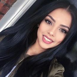 """Compra Online Cordón lleno recta superior de seda-Pelucas llenas de seda del cordón del pelo humano del pelo de las pelucas rectas sedosas de las pelucas para las mujeres 8 """"-32"""" Color natural de la base del color 4X4 '' Envío libre"""