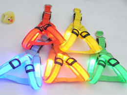 Wholesale Safety Dog Pet Belt Harness Glow LED Flashing Light Leash Tether Colors light up dog harness pet supplies